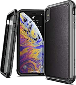 X-Doria Defense Lux, Compatible with Apple iPhone Xs Max - Military Grade Drop Tested, Anodized Aluminum, TPU, and Polycarbonate Protective Case for iPhone Xs Max, Black Leather
