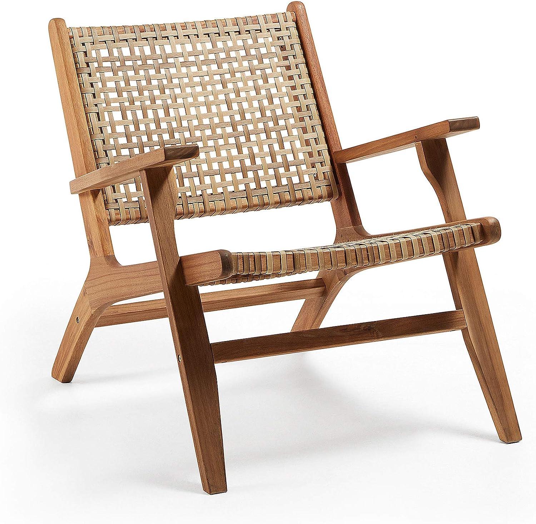 Kave Home - Sillón Grignoon con reposabrazos de ratán y Estructura de Madera Maciza de Acacia para Interior y Exterior