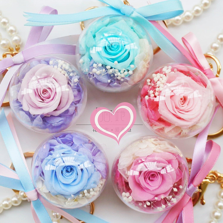 Fleur Eternelle Porte Cl/é Balle Fait /à la Main Rose Naturelle avec Peluche Pendentif de Sac