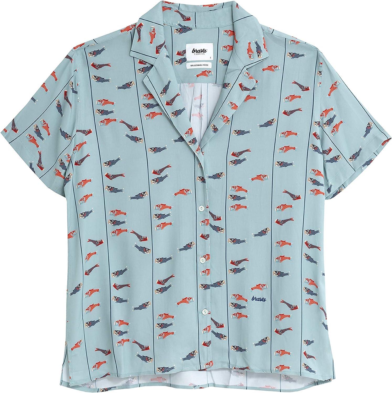 Brava Fabrics - Blusa Aloha - Blusa Aloha Estampada - Camisa Hawaii Mujer - 100% Viscosa Ecovero - Modelo Koinobori Kite: Amazon.es: Ropa y accesorios