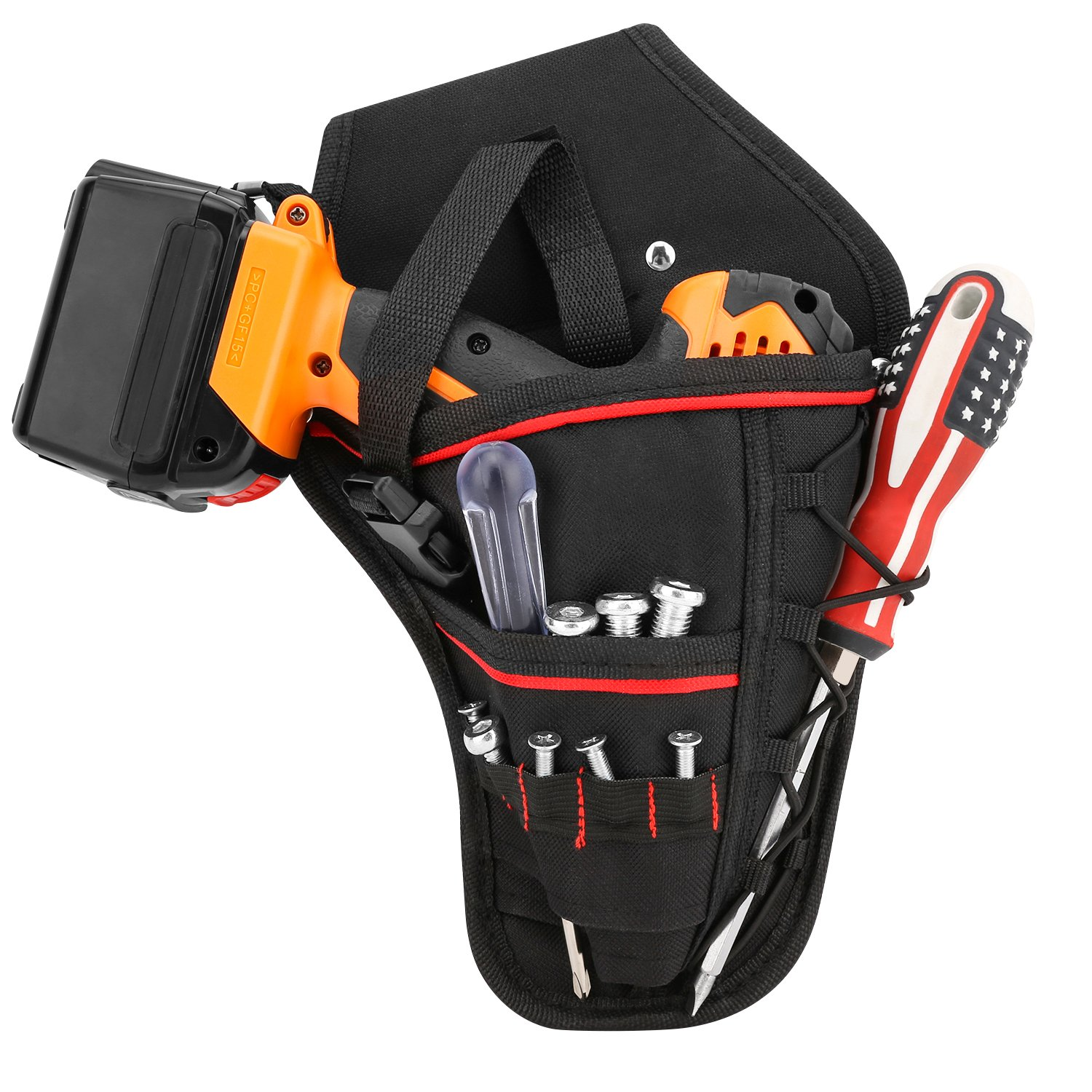 Drill Holster, Housolution Waterproof Impact Driver Drill Holder, Multi-functional Electric Tool Pouch Bag with Waist Belt for Wrench, Hammer, Screwdriver, Fits Most T Handle Drills - Black
