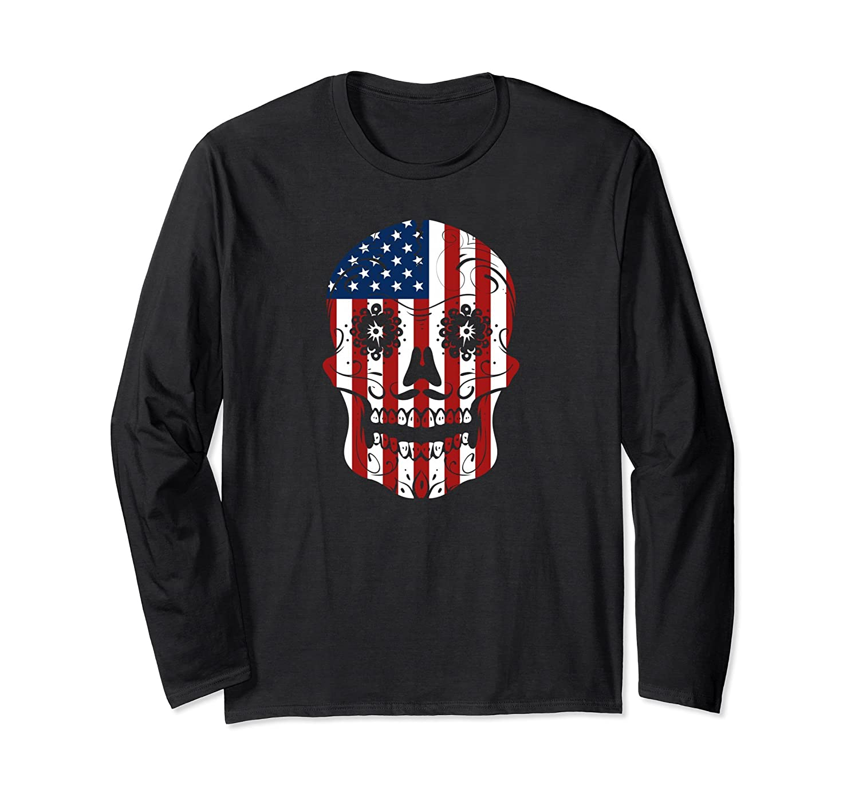 American Flag Patriotic Sugar Skull Long Sleeve Shirt-mt
