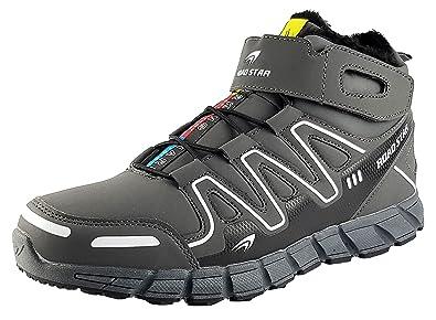 LEKANN Unisex Damen Herren Sneaker Winterschuhe Winterstiefel Warm  gefüttert mit Klettverschluss   Schnellverschluss, Grau  9b01e521fb