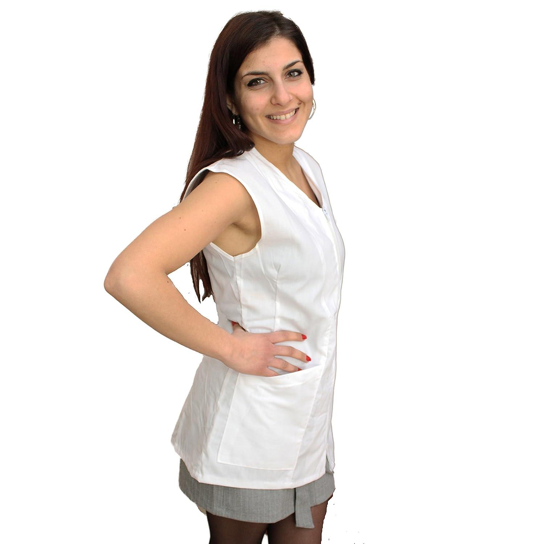 Petersabitidalavoro Camice da Lavoro Giromanica Donna, con Zip, Estetista, Parrucchiera, Alimentari, Bianco, Cotone, Made in Italy