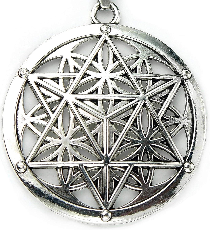 Merkabah on Flower of Life Necklace Sacred Geometry Merkaba Pendant Merkavah on Stainless Snake Chain