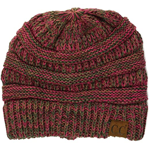 9c1b37caaa1 Quad Color Warm Chunky Thick Stretchy Knit Slouchy Beanie Skull Cap Hat  Berry