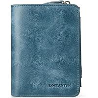 Bostanten Mens Wallet Genuine Leather Wallets for Men Card case Holder Large Capacity Men's Bifold Wallet Blue