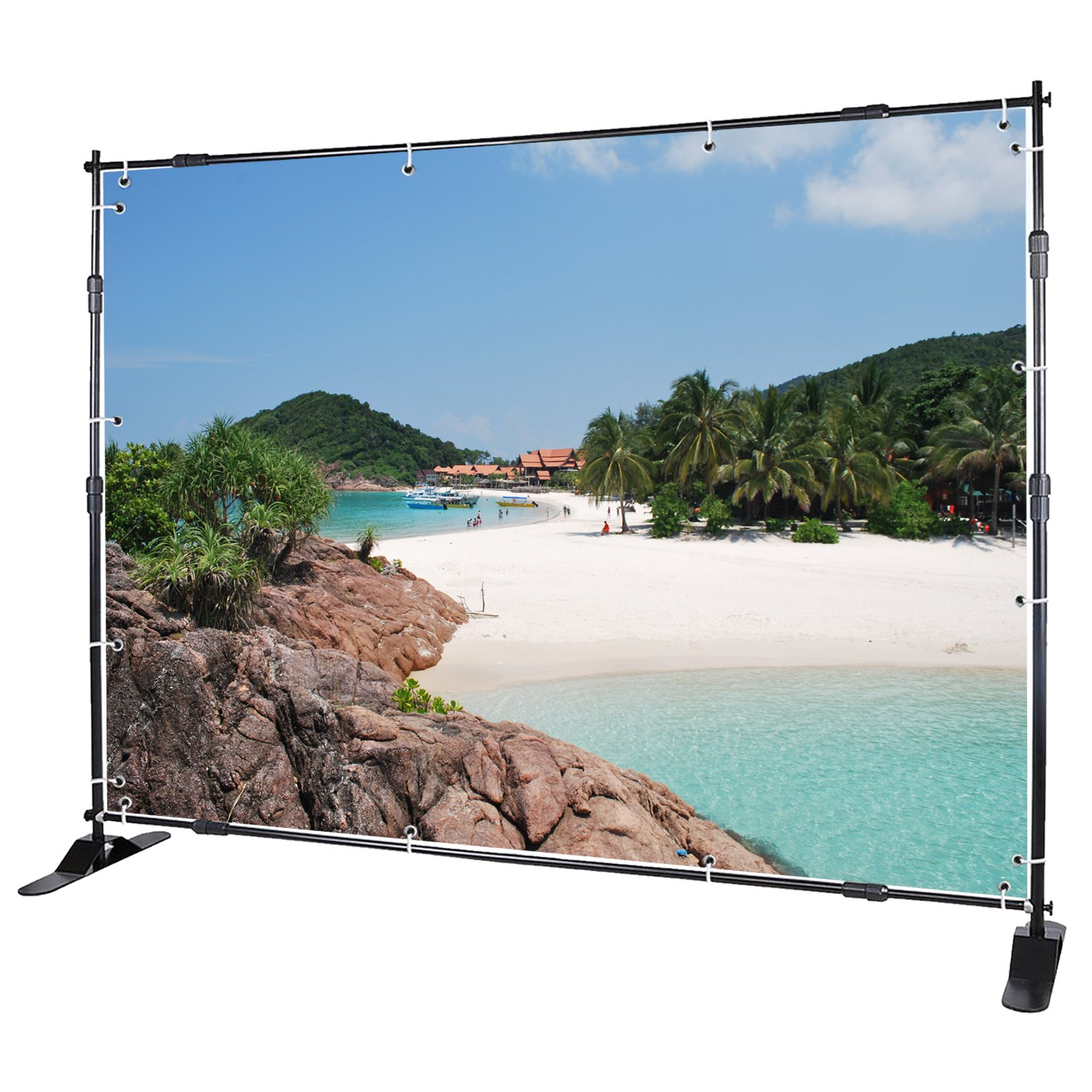 Voilamart Banner Stand 8' x 8' Adjustable Telescopic Display Backdrop Stand Step and Repeat for Trade Show, Photo Booth, Wall Exhibitor Background with Carrying Bag