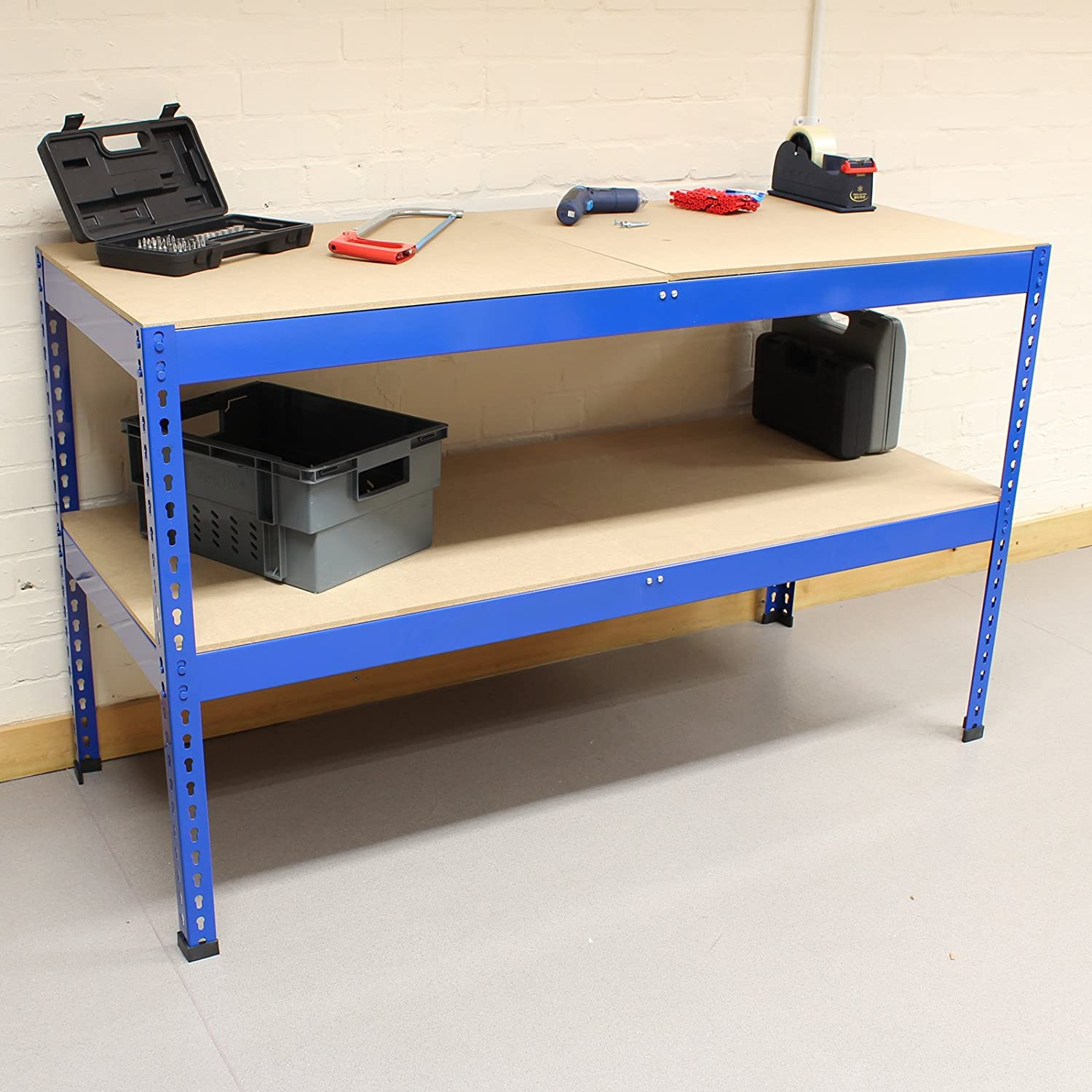 Hardcastle 1.5m Steel Work Bench with 2 Shelves - Blue