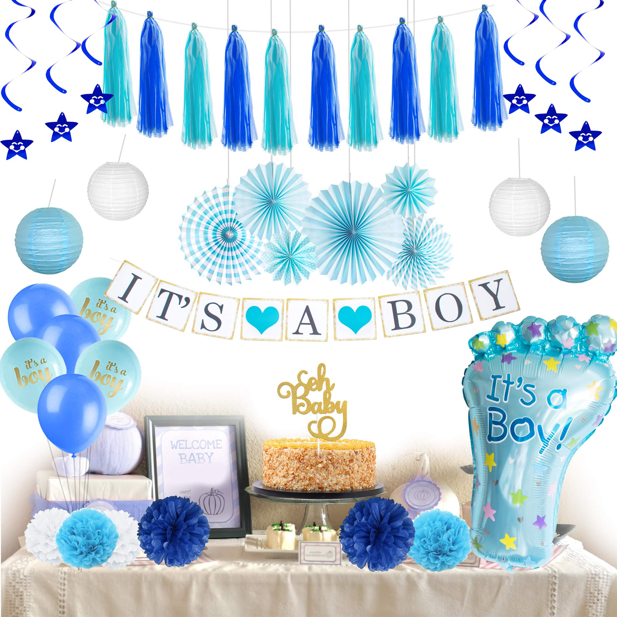 Baby Shower Decorations for Boy I BabyShower Backdrop Decor I Boy Baby Shower Decorations I Premium Party Decoration Items I Its a Boy Banner Star Swirls Foot-shaped Foil Balloon Lanterns, Cake Topper by Moment-O-Mania (Image #1)
