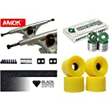 'LONGBOARD Axes Basic | Amok Trucks 7 Set de 180 mm | Amphetamine Roulements ABEC 7 | 76 mm Wheels | avec Hardware & Grip Tape