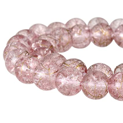 82a6ef1ef3204 RUBYCA Round Crackle Druk Czech Crystal Pressed Glass Beads for Jewelry  Making 8mm Strand (Pink)