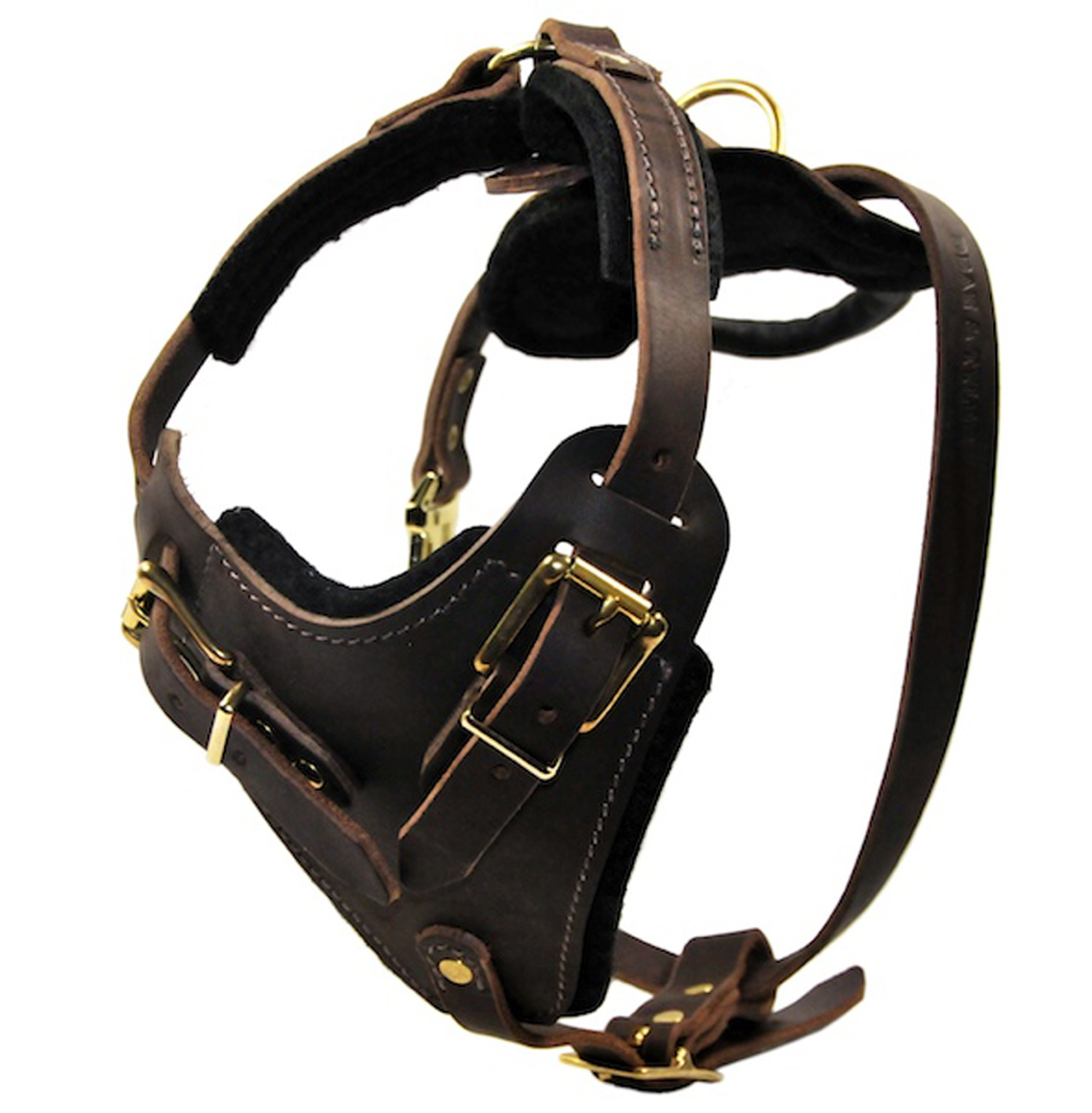 Dean and Tyler The Boss Brass Hardware Leather Dog Harness, Brown, Medium - Fits Girth Size: 28-Inch to 37-Inch