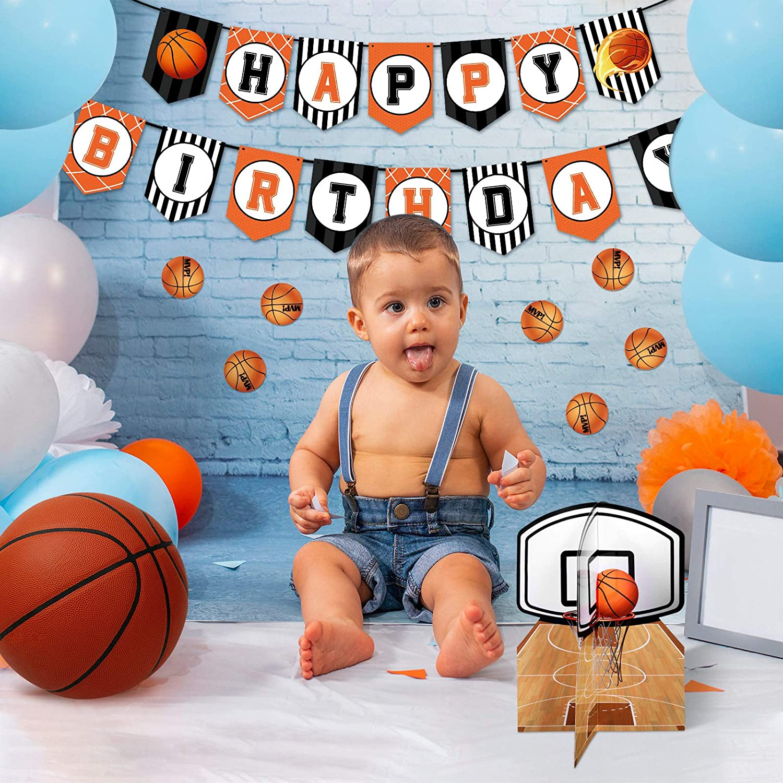 36 Banni/ères Joyeux Anniversaire de Basket-Ball Articles de F/ête Slam Silhouettes de Joueur Basket-Ball Tourbillons Suspendus Basket-Ball D/écorations de Table pour Anniversaire Baby Shower