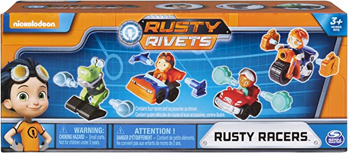 Rusty Rivets - Rusty Racer 4 Pack Bundle, Racer Figures with Bonus Parts, for Ages 3 & Up