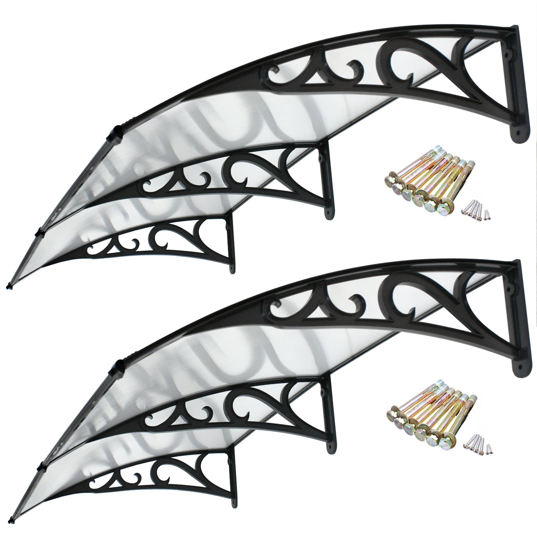 F2C Set of 2 40''x 80'' DIY Outdoor Polycarbonate Front Door Window Awning Patio Frey Board Cover Canopy (2PCS frame of the pattern)