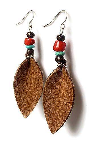 Southwest Style Paper Bead Earrings Long Earrings Dangle Earrings Southwest Style Jewelry Beaded Earrings Paper Bead Earrings