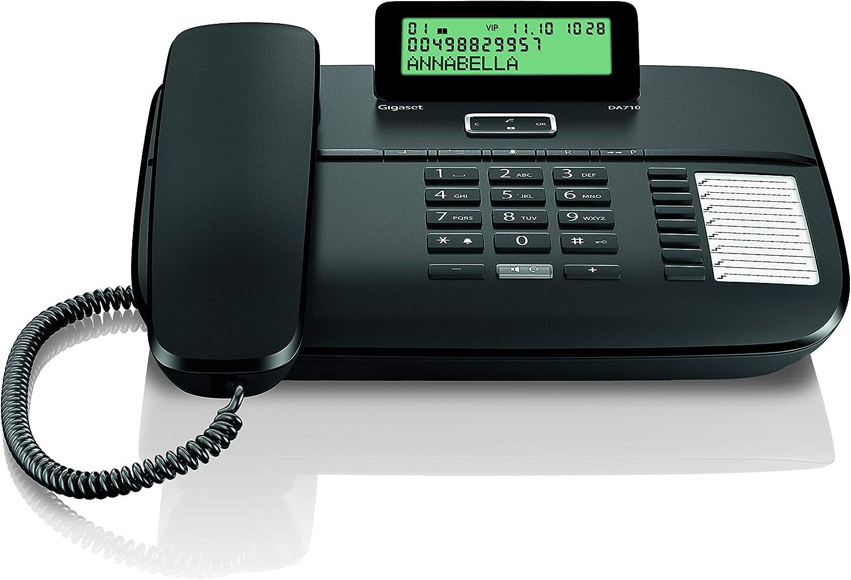Gigaset DA710 - Teléfono Fijo con Cable Manos Libres, Pantalla de Posición Ajustable, Color Negro