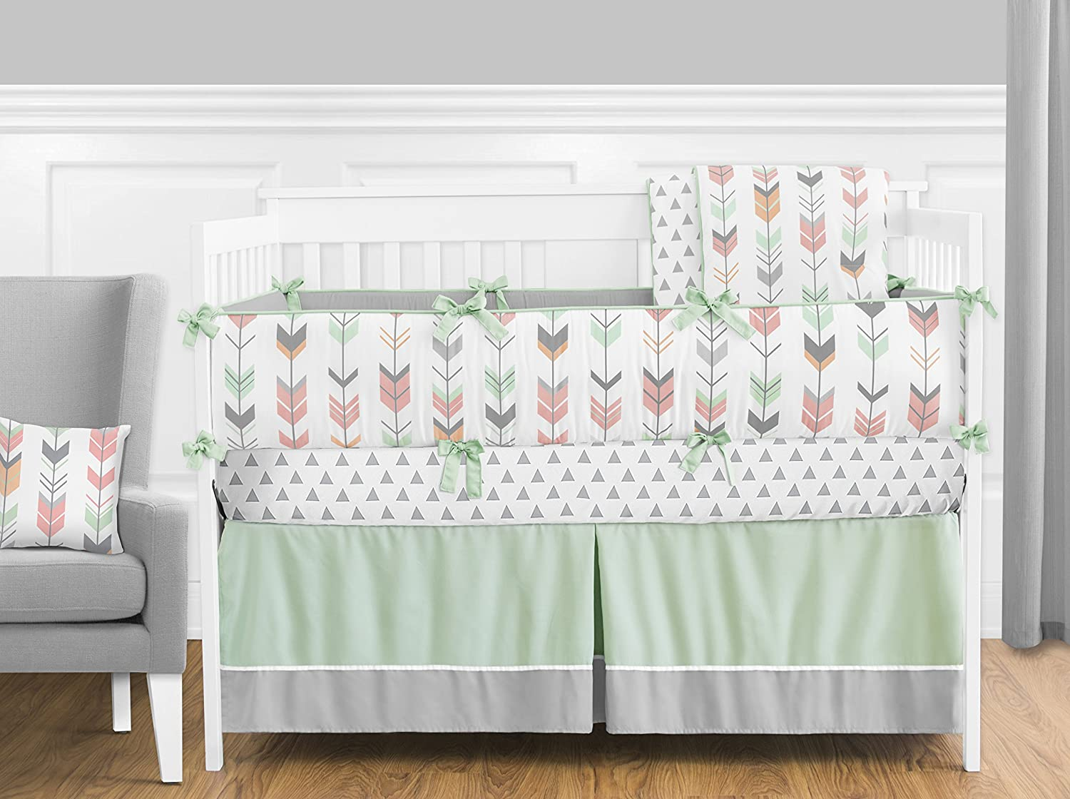 Coral and Mint Woodland Arrow Baby Girls Changing Pad Cover B01HHAXCTG Sweet Jojo Designs Grey