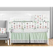 Grey, Coral and Mint Woodland Arrow 9 Piece Crib Bed Bedding Set with Bumper for a Newborn Baby Girl