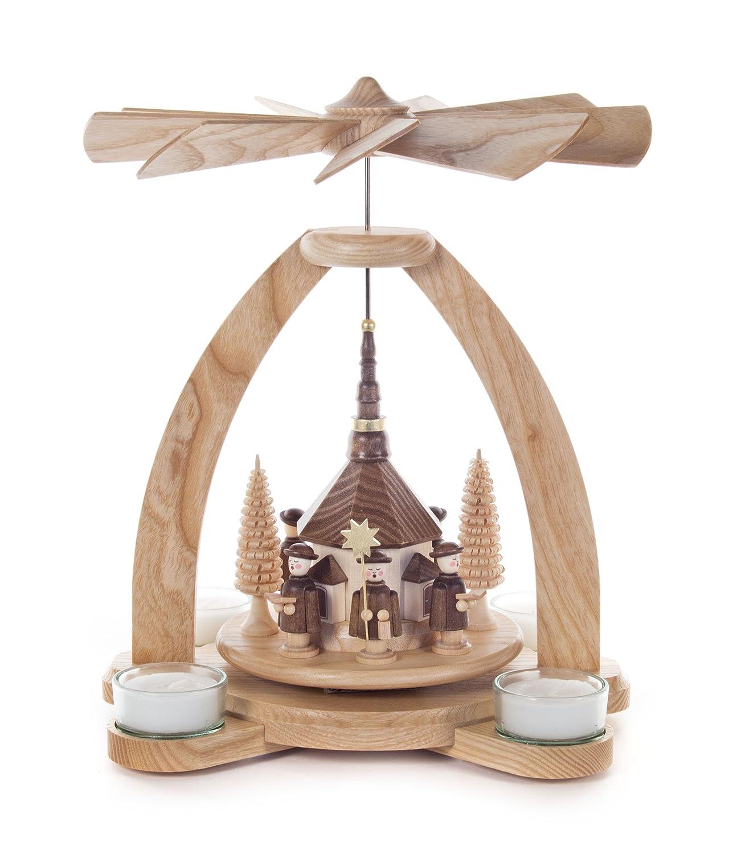 DREGENO Pyramide natur mit Kirche und Kurrende, für Teelichter, von DREGENO SEIFFEN 28,5 cm – Original erzgebirgische Handarbeit