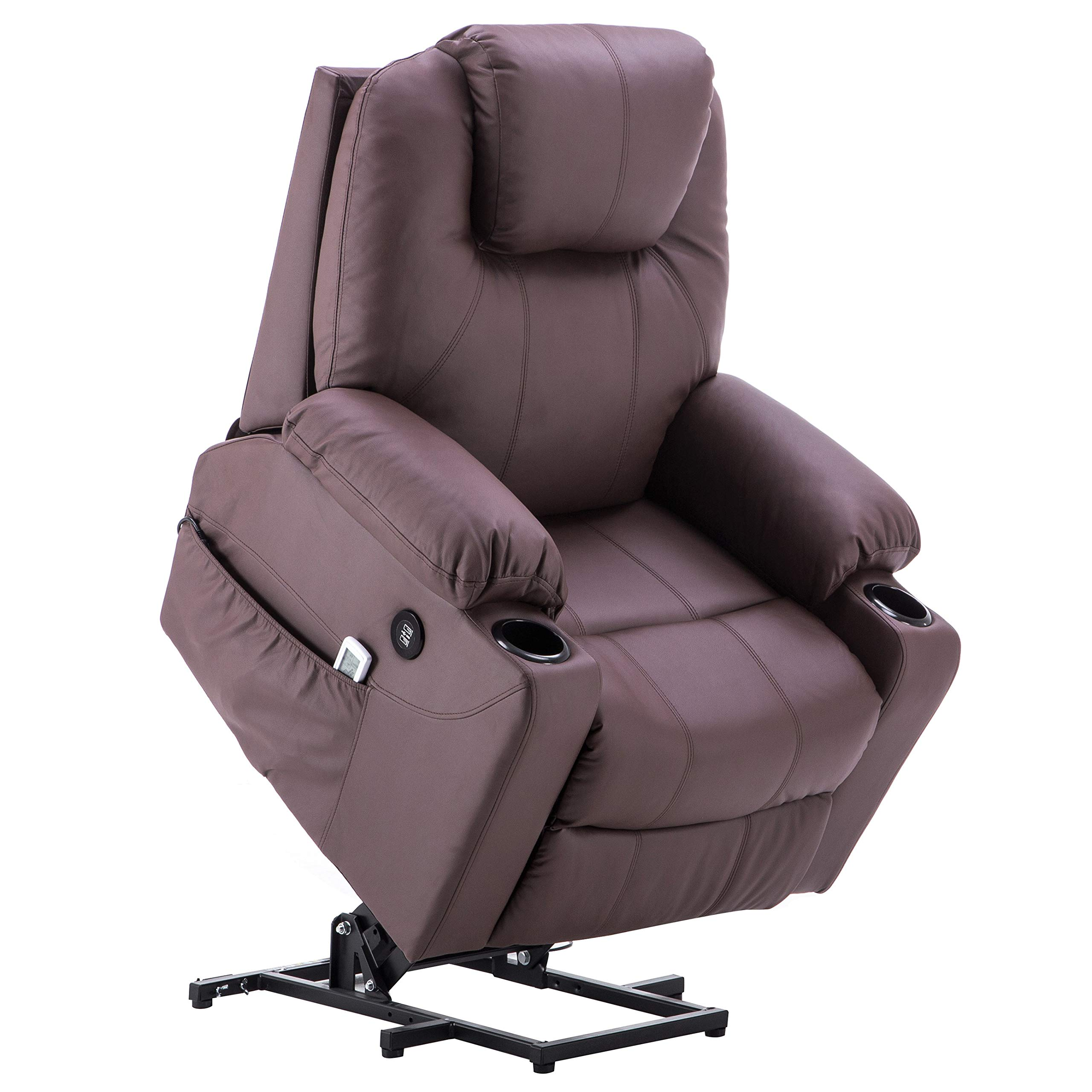 Mcombo Electric Power Lift Massage Sofa Recliner Heated Chair Lounge w/Remote Control USB Charging Ports, 7045 (Brown)