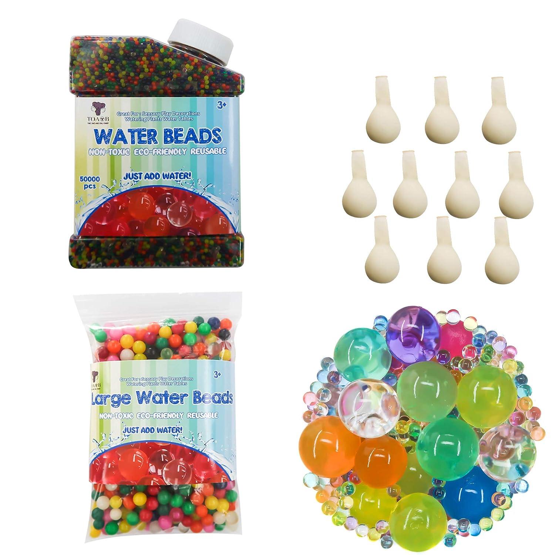 TOAOB 50000pcs Perles De L'eau Aqualinos Perles Gel Perles De Culture En Cristal Sol avec 100 pcs XXL et 10 pcs Ballons D'eau pour comme Dé coration pour Vase De Fleur FR-CXSQ0004