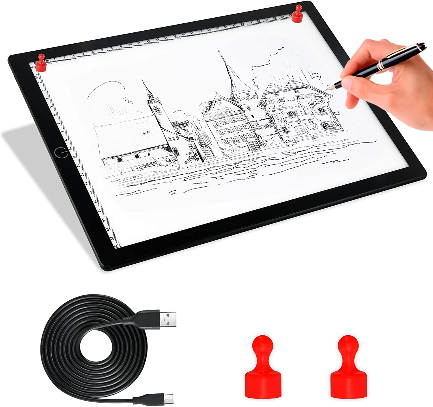 A4 Light Board Portable Tracing Light Box Magnetic Drawing Board Light Drawing Board Light Box For Tracing Sketch Pad Light Drawing Pad Light Table Cricut Light Pad Light Tablet For Tracing, Sketching