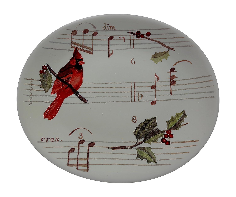 Ceramic Cardinal Winter Holly Berries Dessert Plates Set of 4