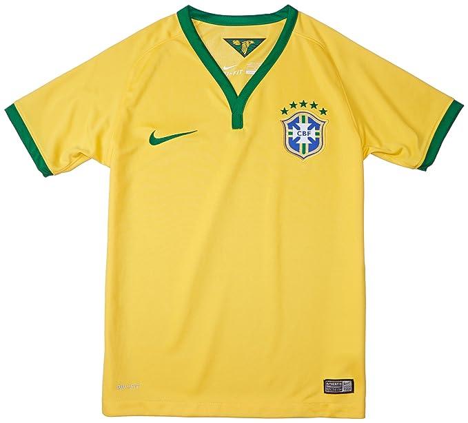 255eb2429 Amazon.com  NIKE Youth Brazil Home Soccer Stadium Jersey 2013 14 ...