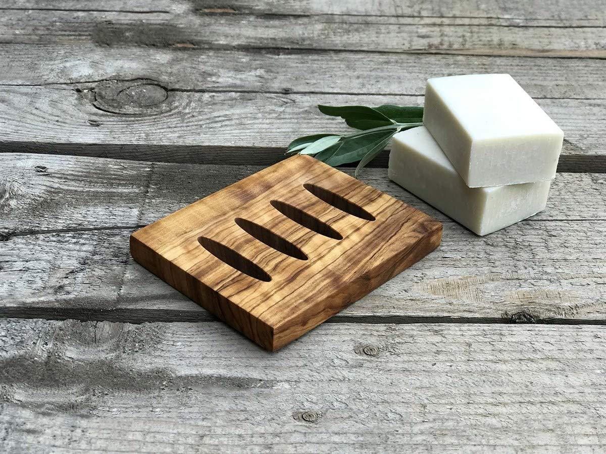 Natural Olive Wood Soap Dish, Natural Wooden Sink Bar, Soap Holder, Soap Saver, Hand Craft for Kitchen Bathroom Shower and Counter 1 (PCS) Zeus