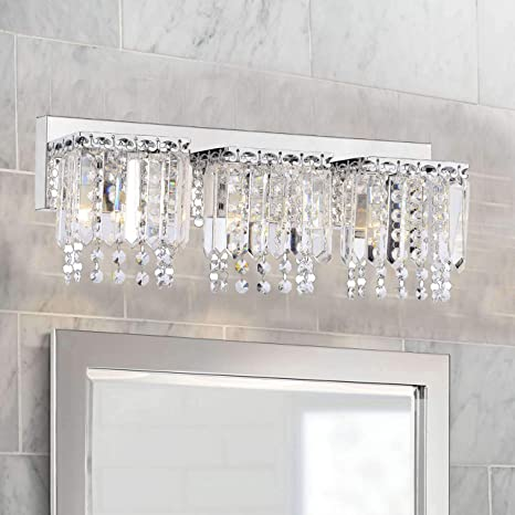 The Lighting Store Evelyn 3 Light Crystal Strand Wall Sconce In Chrome Finish