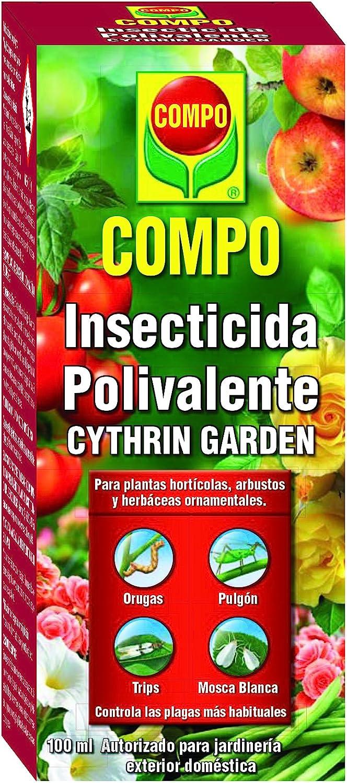 Compo Cythrin Garden Insecticida Polivalente, para Plantas hortícolas, arbustos y Ornamentales, Control de plagas, jardinería Exterior doméstica, Apto para Agricultura ecológica, 100 ml, 5.5x5.5x13 cm
