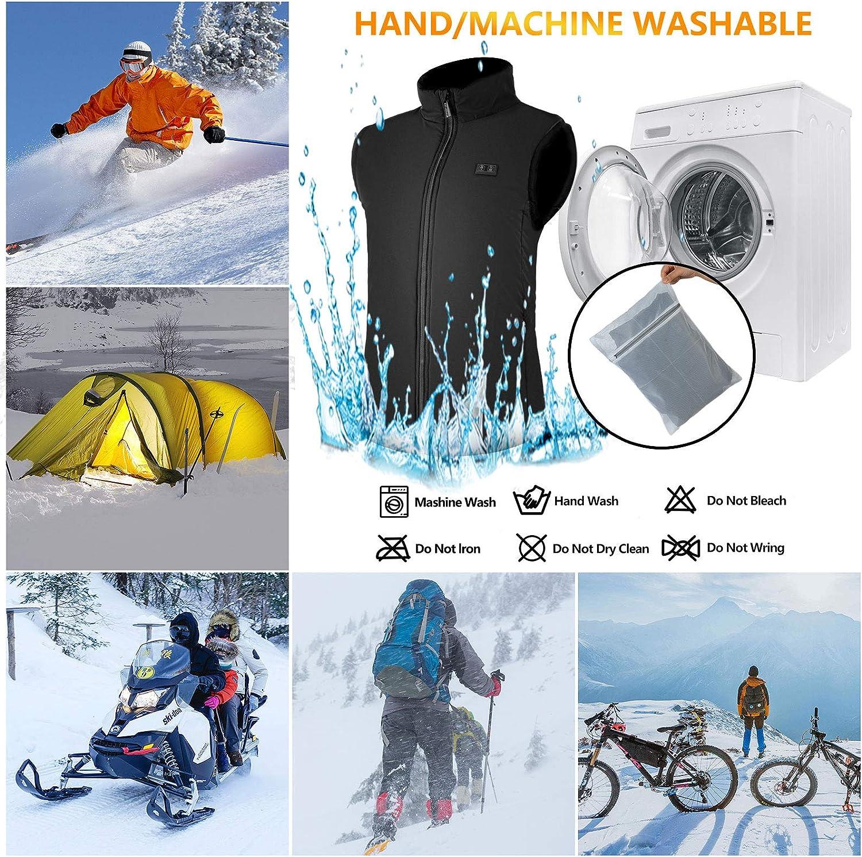 SHAALEK Chaleco Calefactable Hombres Mujeres 7,4V Chaqueta Calefactable De Deportes de Invierno al Aire Libre