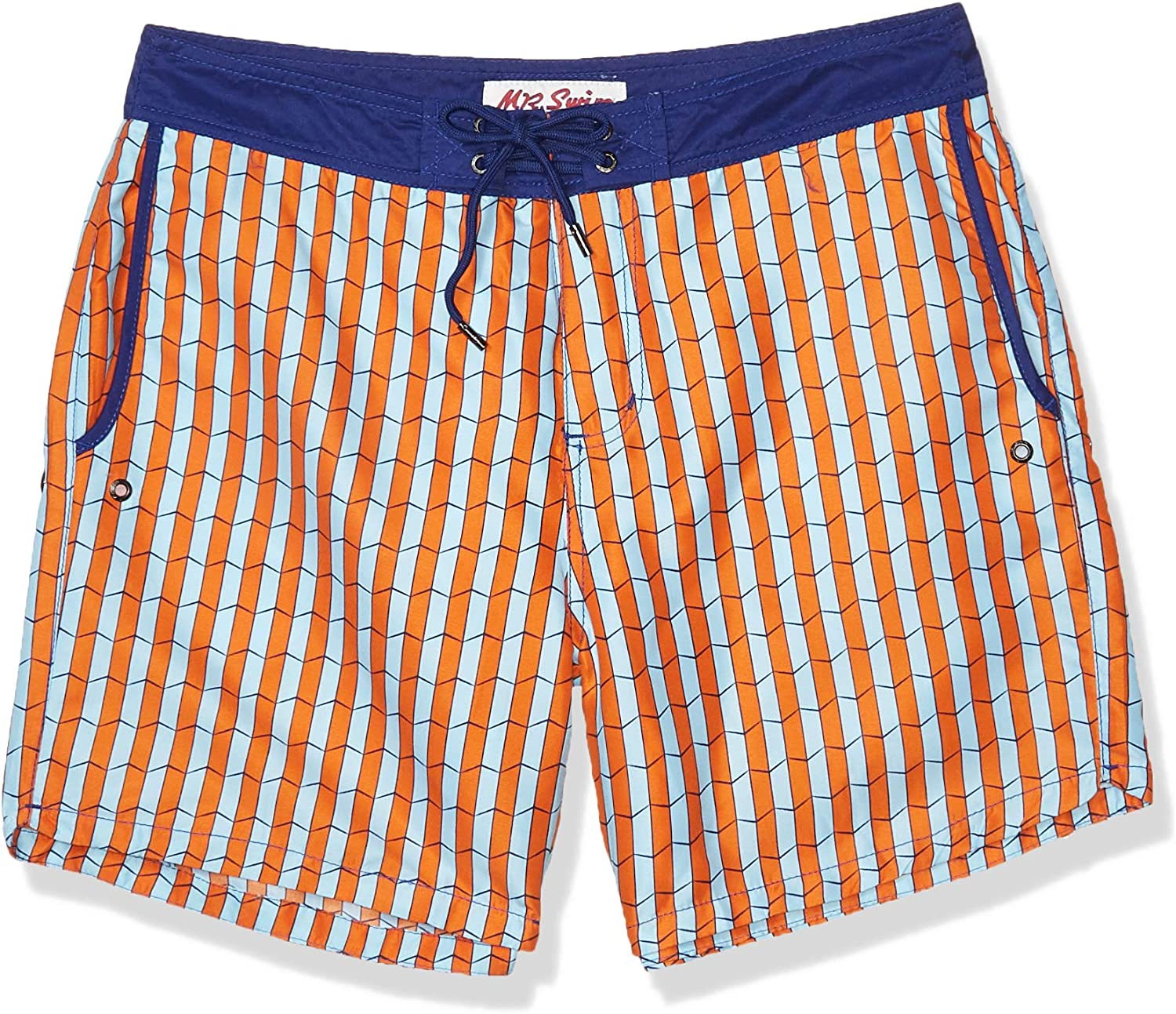 Mr. Swim Men's Shifted Chuck Swim Trunk, Orange, 34