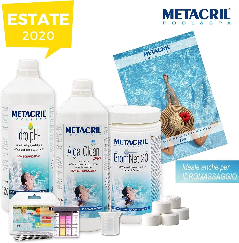 Starter Kit Brom para tratamiento de agua y mantenimiento de spa, hidromasaje y pequeñas piscinas a base de bromo, en pastillas de 20g-