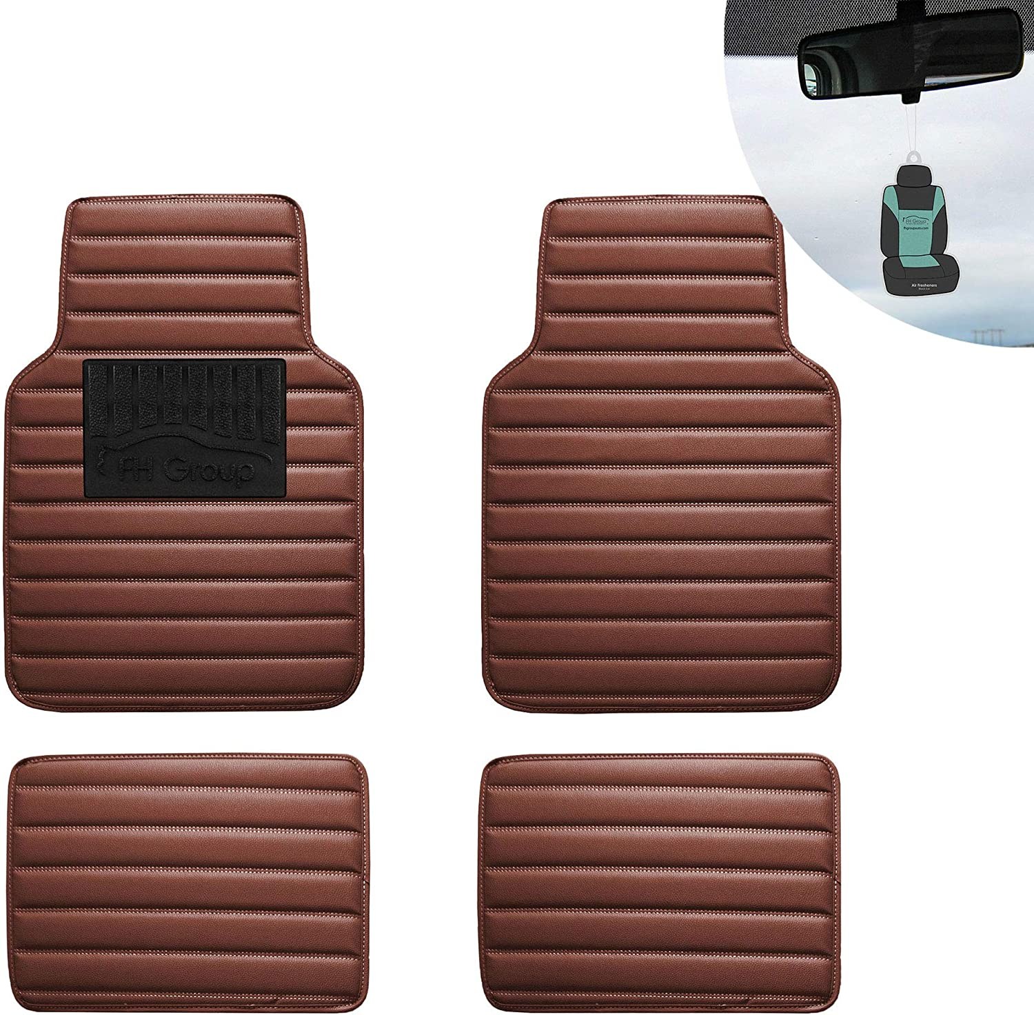 FH Group 12001 Luxury All-Season Heavy Duty Faux Leather Car Floor Mats Stripe Design w. High Tech 3-D Anti-Skid/Slip Backing, Brown Color w. Gift-Universal fit for Cars, auto, Trucks, SUV