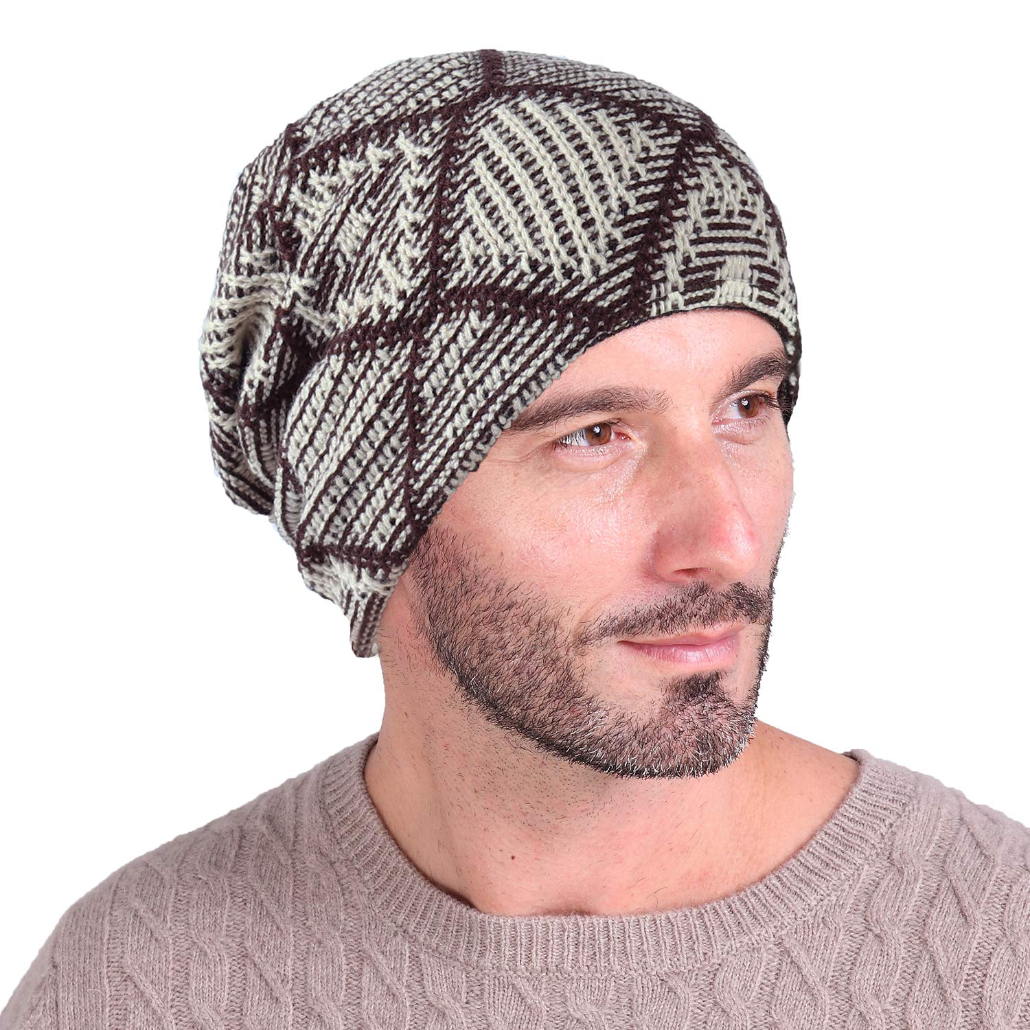 Amazon.com  Luffy Beanie - Winter Trendy Thick Knit Check Skull Cap with  Fleece Lined-Soft Slouchy Stretch Wool hat for Men and Women (Beige-Check)   ... ce92d3aef19