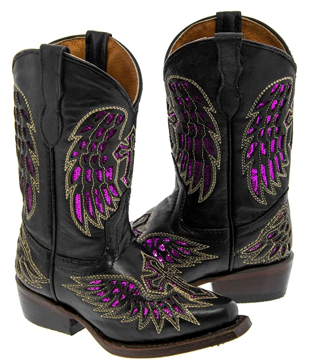 Kids Black /& Fuchsia Cross Wings Leather Cowboy Boots Snip Toe Veretta Boots