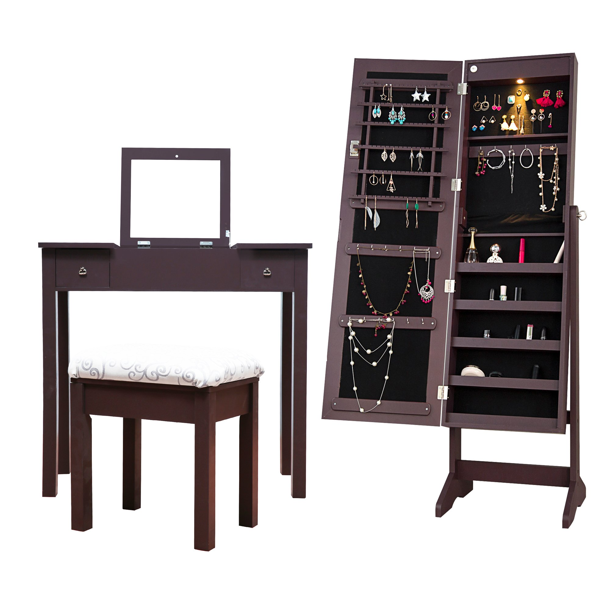 Cloud Mountain Mirrored Jewelry Armoire Jewelry Cabinet Free Standing with LED Light + Makeup Dressing Vanity Table Stool Set, Espresso by Cloud Mountain