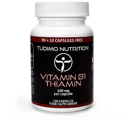 ☆ Vitamina B1 ☆ 100 mg ☆ Thiamin Cápsulas - 100 pzas (3+ Meses de provisión) de Cápsulas de Desintegración Rápida, cada una con 100mg de polvo de ...