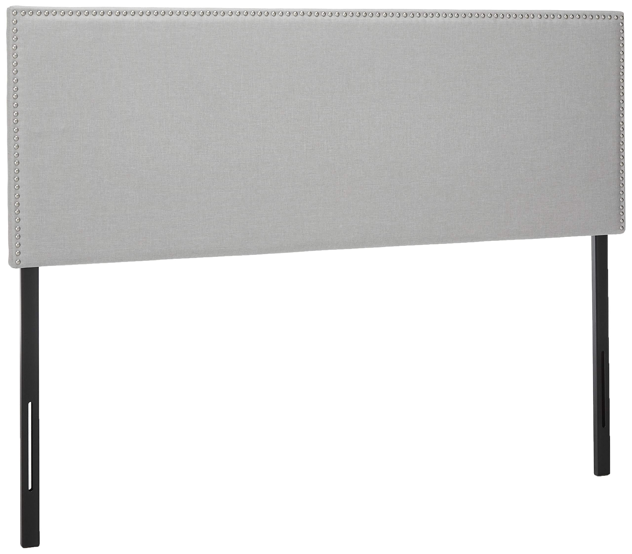 Zinus Jake Upholstered Nailhead Rectangular Headboard in Light Grey, Queen
