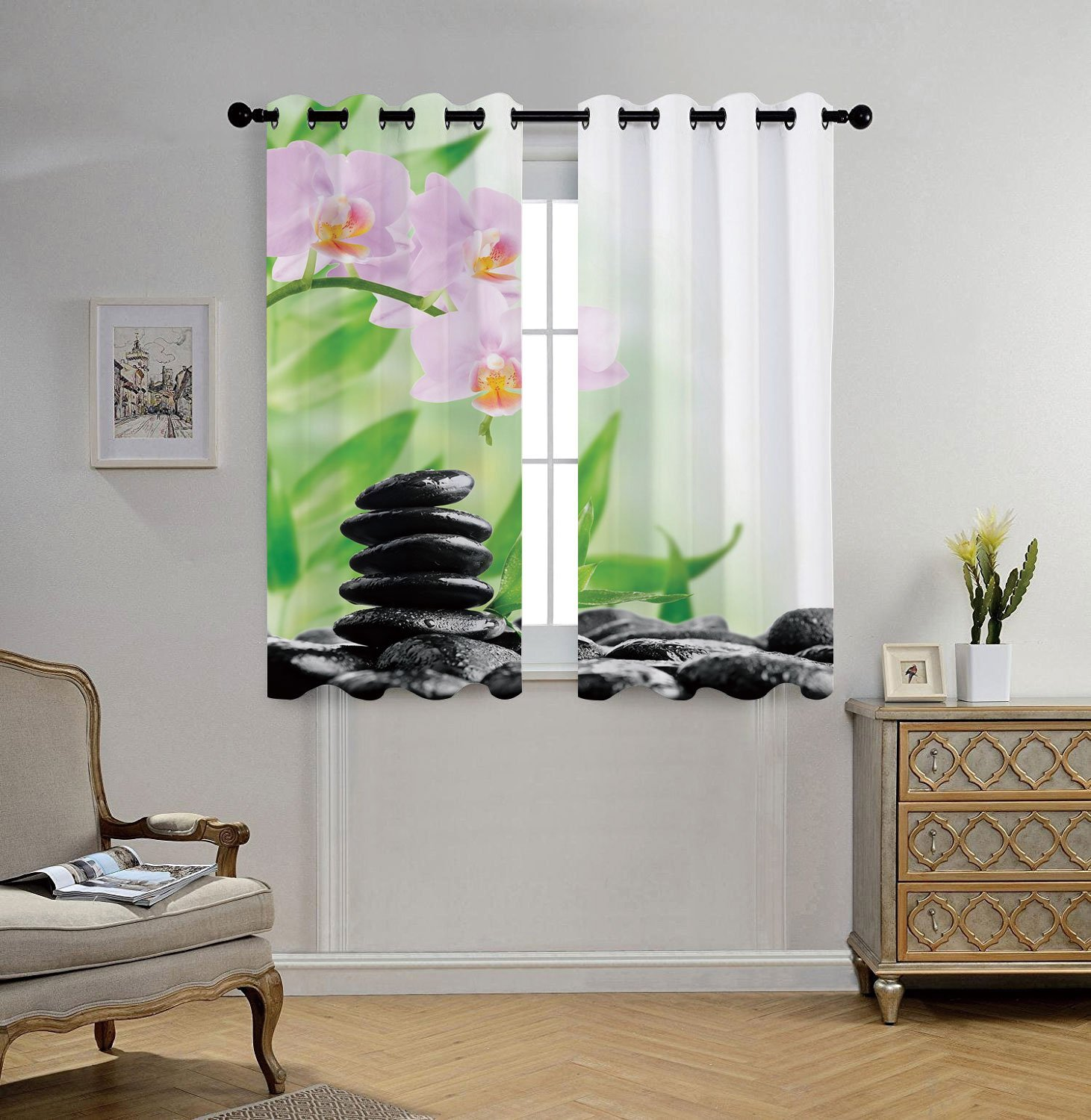 Stylish Window Curtains,Spa,Zen Basalt Stones and Orchid with Dew Peaceful Nature Theraphy Massage Meditation Decorative,Black Pink Green,2 Panel Set Window Drapes,for Living Room Bedroom Kitchen Cafe