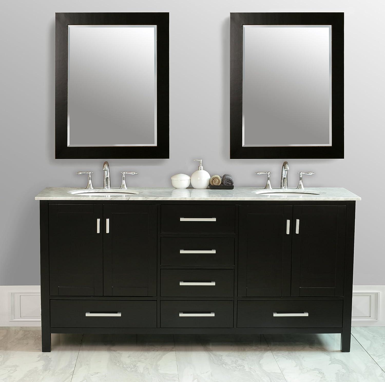 Stufurhome GM 6412 72 CR 72in Malibu Double Sink Vanity In Espresso Finish  With Carrara White Marble Top And Mirror   Bathroom Vanities   Amazon.com