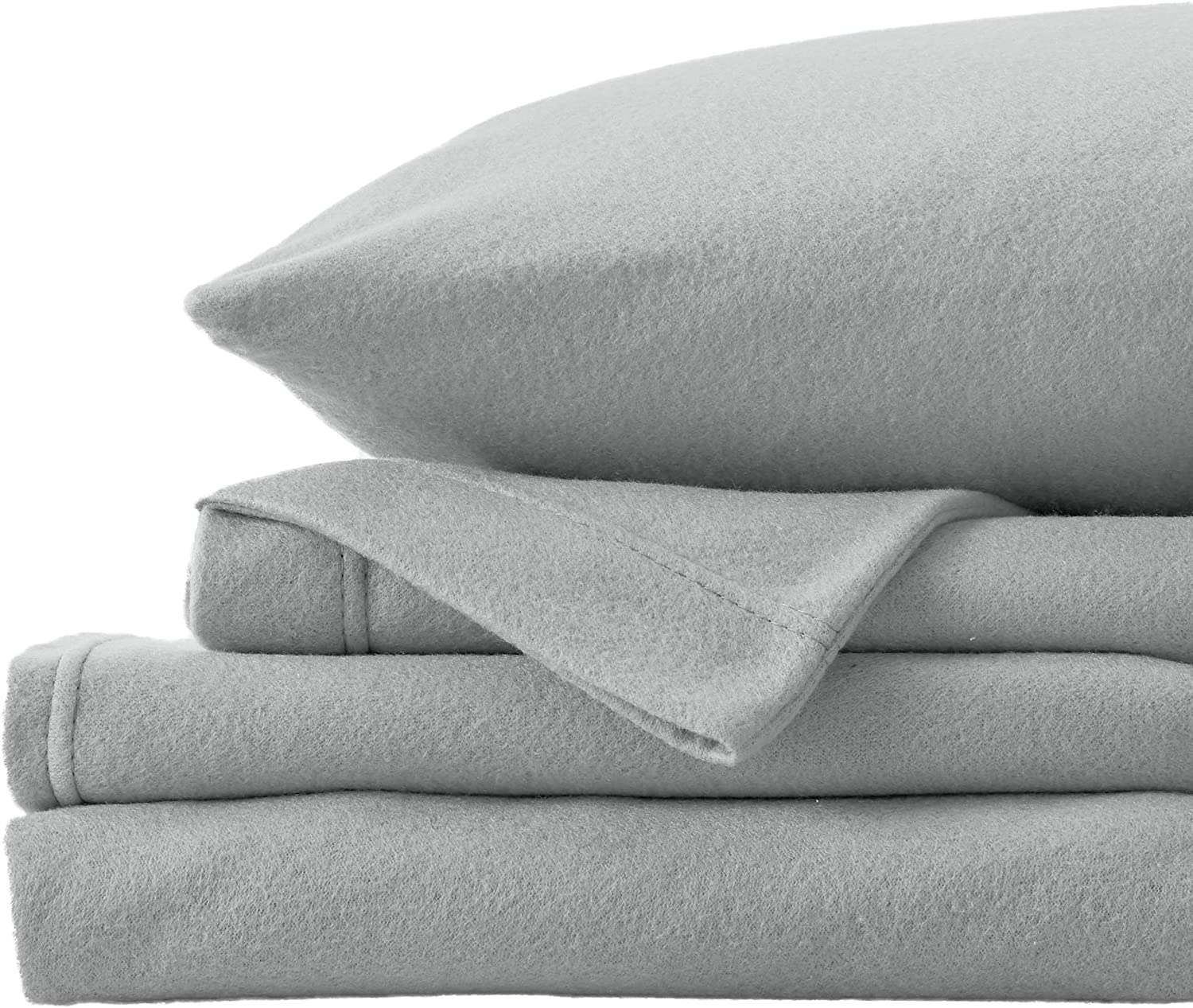 Super Soft Extra Plush Fleece Sheet Set. Cozy, Warm, Durable, Smooth, Breathable Winter Sheets in Solid Colors. Christina Collection (Full Paloma Grey)