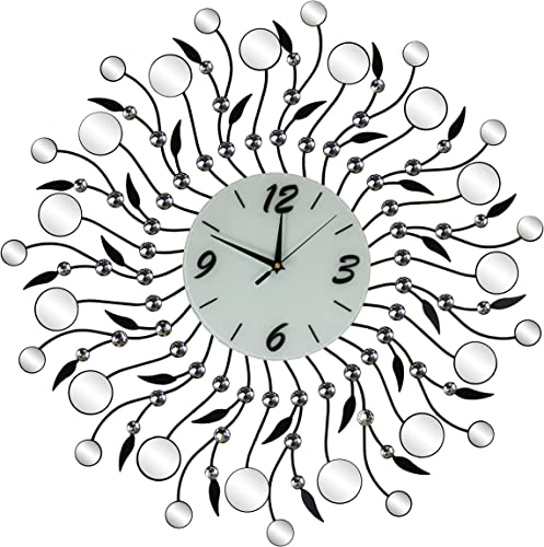Large Mirror and Crystal Abstract Leaf Wall Clock