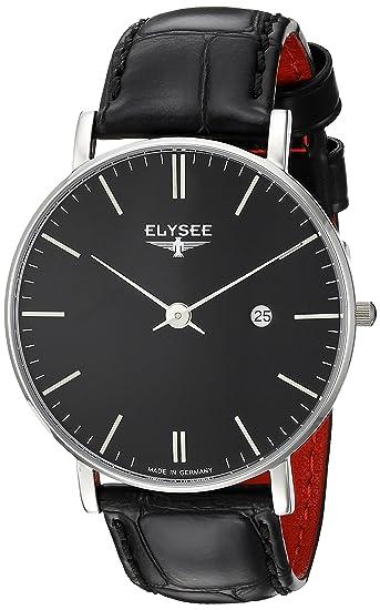 Elysee Zelos reloj del negro para hombre de negra cuero