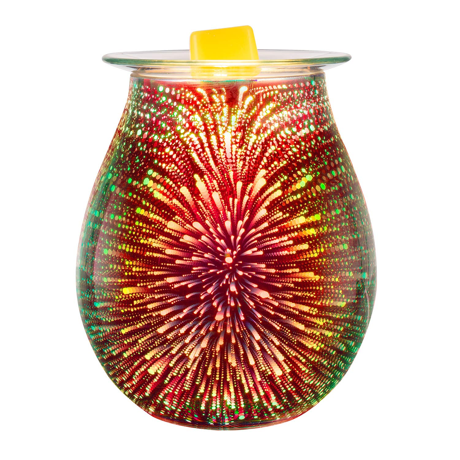 Electric Oil Warmer 3D Effect Fireworks Glass Wax Burner Incense Oil Warmer Night Light Aroma Decorative Lamp for Gifts & Decor for Home Office