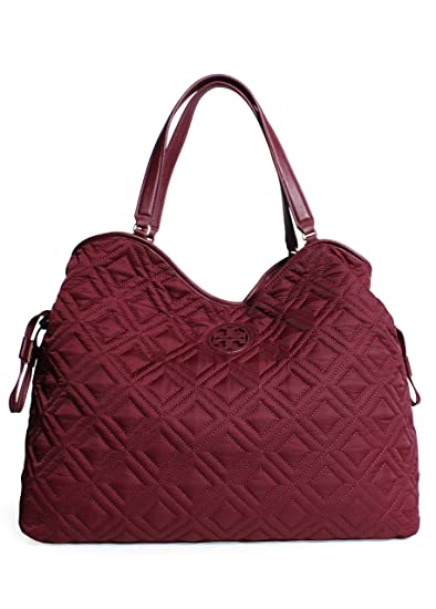 Tory Burch Quilted Slouchy Baby Bag in Deep Berry