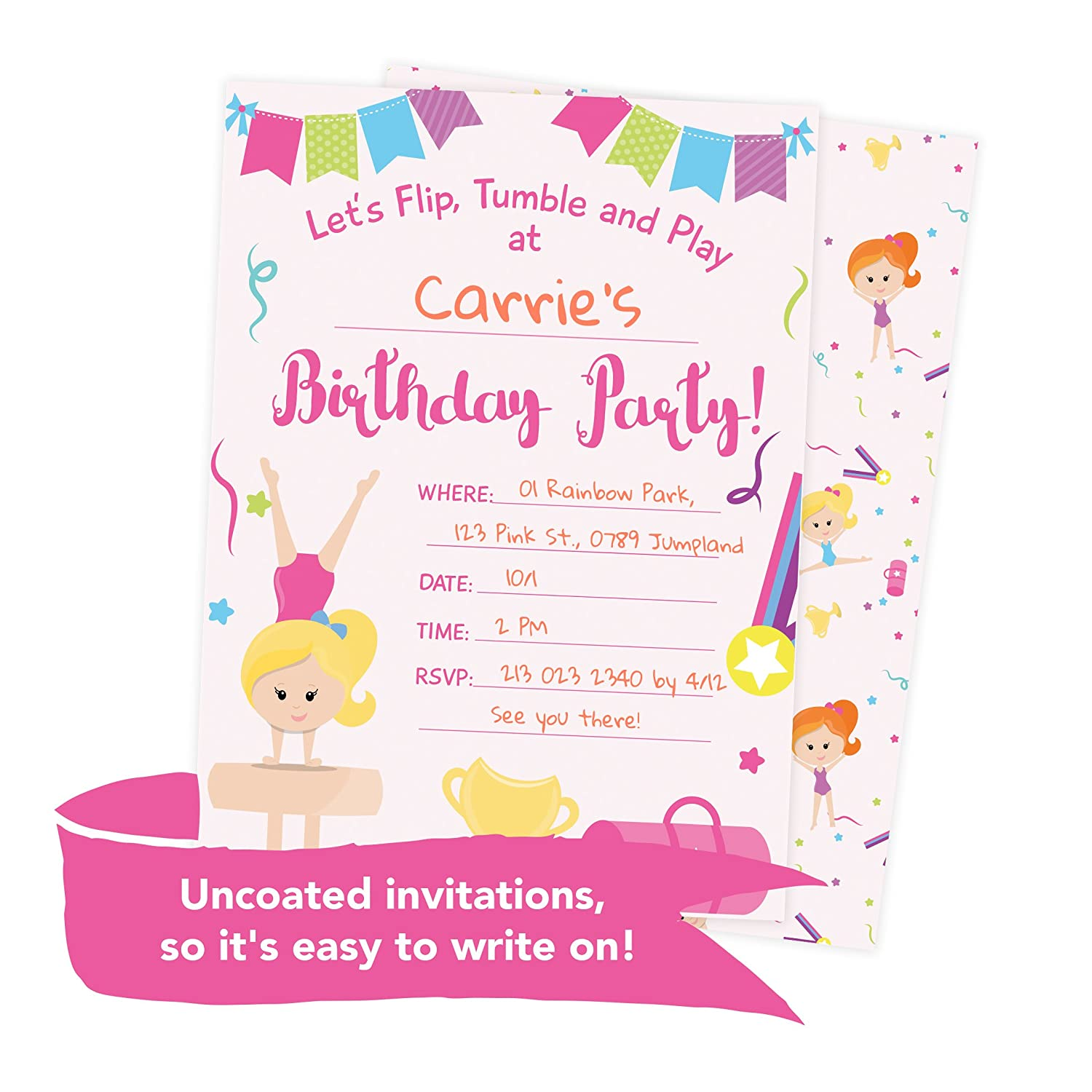 Amazon.com: Gymnastics Happy Birthday Invitations Invite Cards (25 ...